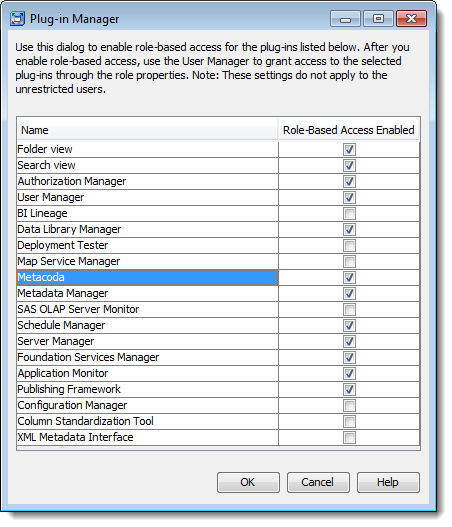 Enabling role-based access to Metacoda (Plug-ins) in the SAS Management Console Plug-in Manager