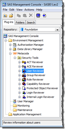 Logged into SAS Management Console 9.3 as a member of the new Metacoda Plug-ins Role