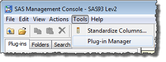 Accessing the Plug-in Manager from the SAS Management Console Tools menu