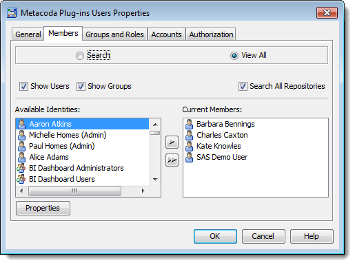 Viewing members of the new Metacoda Plug-ins Users Group used to provide role-based access to Metacoda Plug-ins