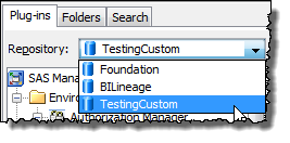 SAS Management Console Plug-ins Tab Repository Selector