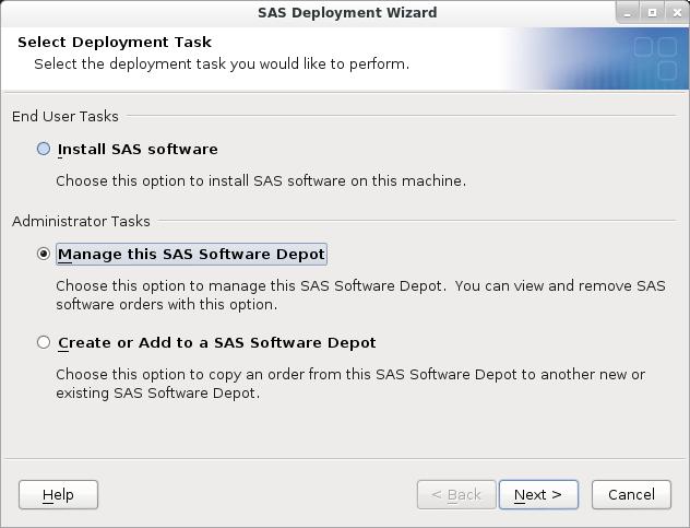 SAS Deployment Wizard: Manage Depot