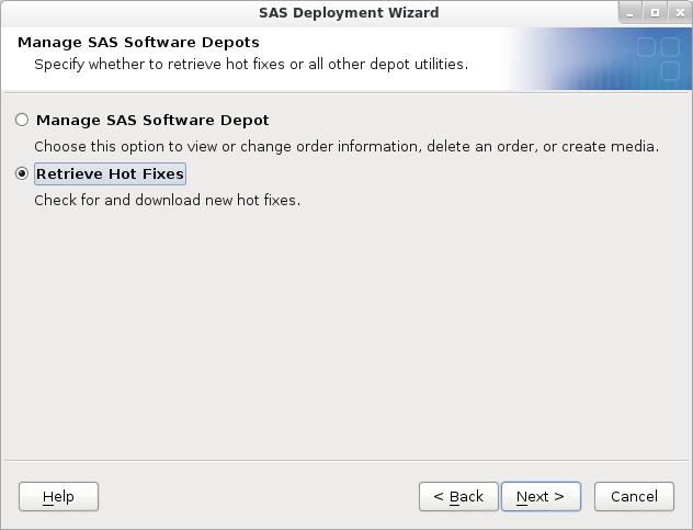 SAS Deployment Wizard: Retrieve Hot Fixes