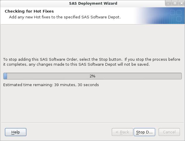 SAS Deployment Wizard: No Additional Hot Fixes