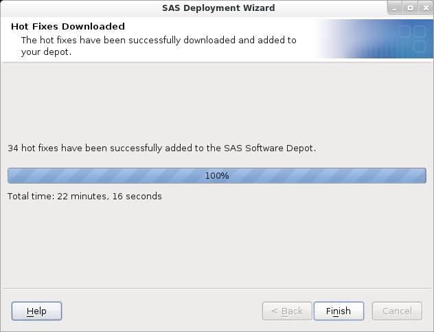 SAS Deployment Wizard: Hot Fix Download Complete