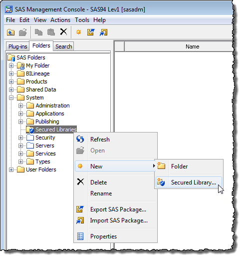 Starting the process of adding a SAS 9.4 Metadata Bound Library