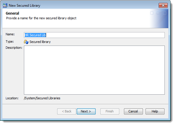 SAS Management Console 9.4: New Secured Library Wizard: providing a secured library name