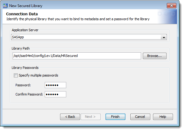 SAS Management Console 9.4: New Secured Library Wizard: specifying path and password