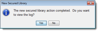 SAS Management Console 9.4: New Secured Library Wizard: status dialog