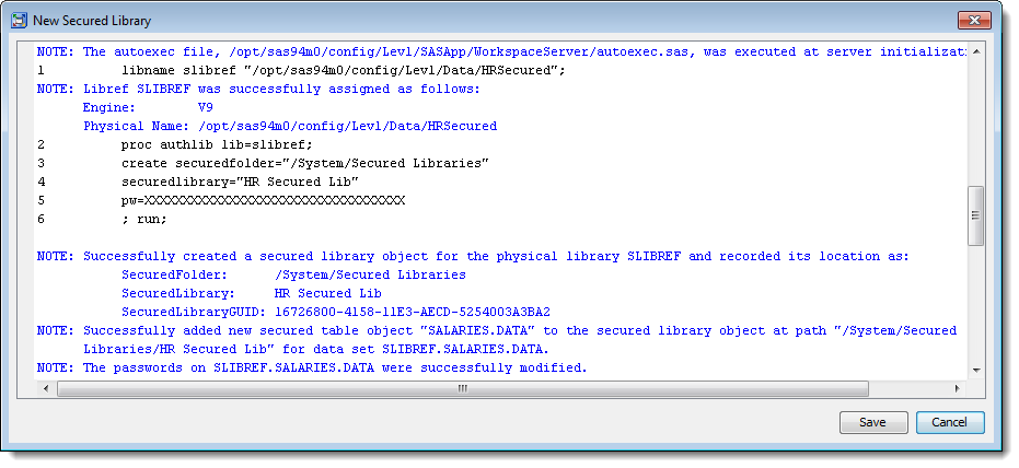 SAS Management Console 9.4: New Secured Library Wizard: log viewer