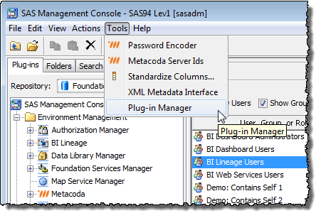 Enabling Role-Based Access to the SAS BI Lineage Plug-in (1)