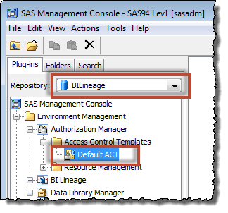 Switching to the SAS BILineage repository to modify its repository ACT