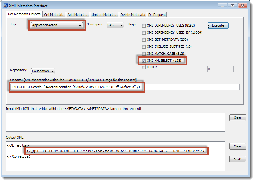 SAS Management Console XML Metadata Interface: Using GetMetadataObjects to locate capability metadata