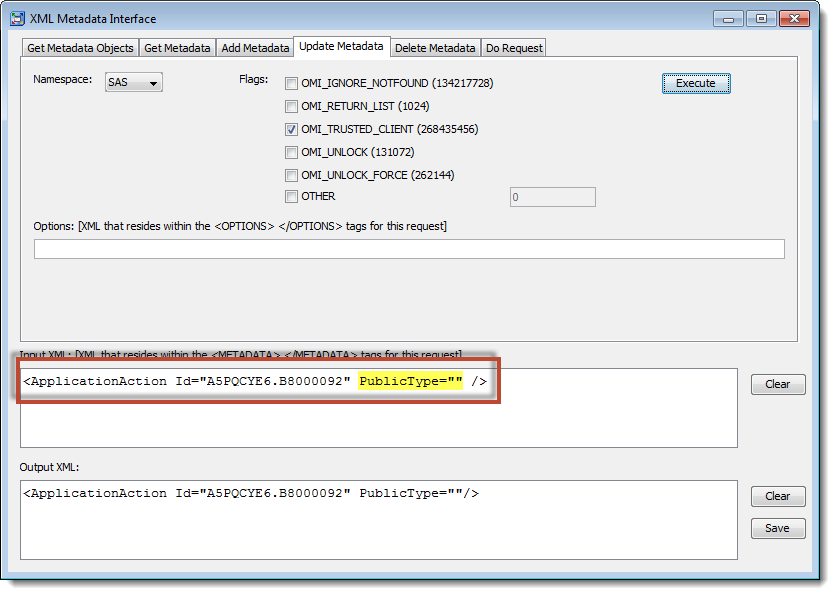 SAS Management Console XML Metadata Interface: Using UpdateMetadata to fix capability metadata
