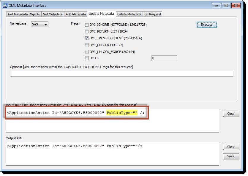 SAS Management Console XML Metadata Interface: Using UpdateMetadata to fix capability metadata