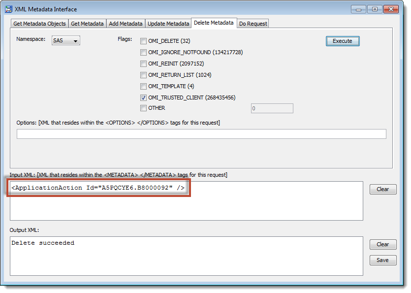 SAS Management Console XML Metadata Interface: Using DeleteMetadata to delete capability metadata