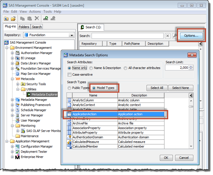 Metacoda Metadata Explorer Plug-in: search options for capability metadata