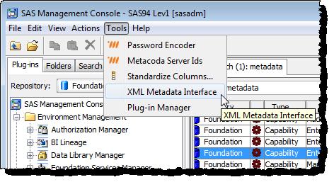 SAS Management Console XML Metadata Interface