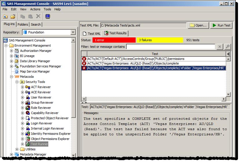 Running SAS metadata security tests using the Metacoda Security Plug-ins Test Runner