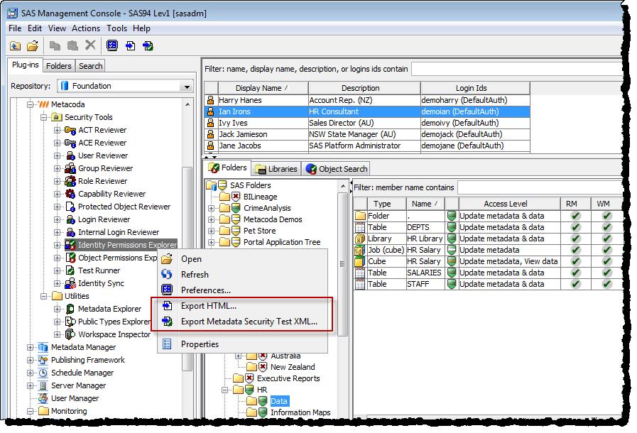 Metacoda Identity Permissions Explorer Export Feature
