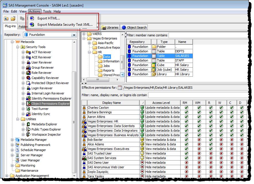 Metacoda Object Permissions Explorer Export Feature
