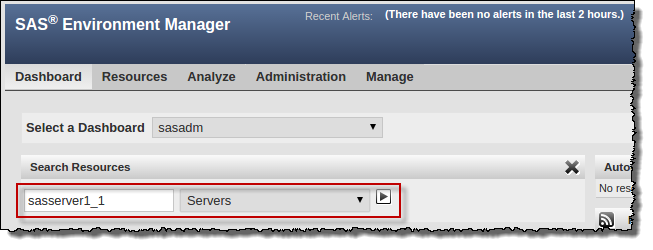 SAS Environment Manager: Finding a SAS Web App Server instance