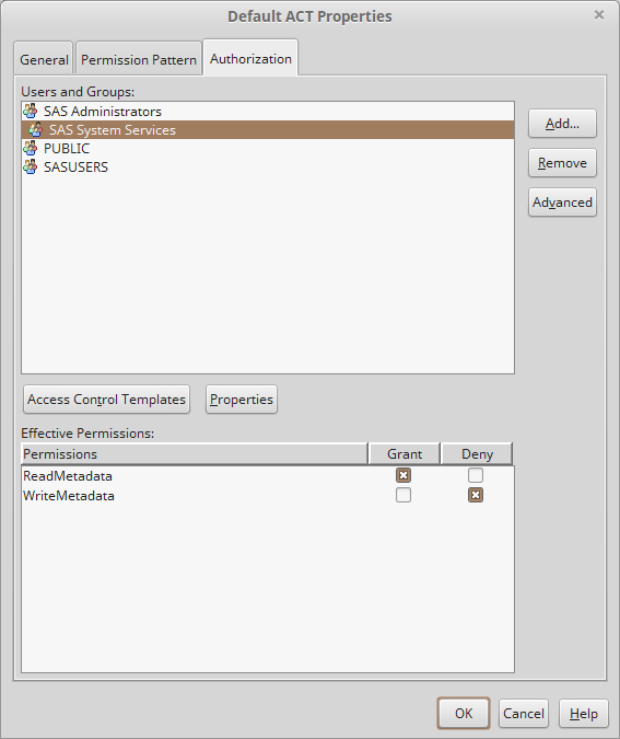 SAS Management Console Authorization Tab: Default GTK Look & Feel