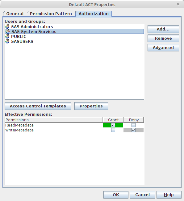 SAS Management Console Authorization Tab: Metal Look & Feel