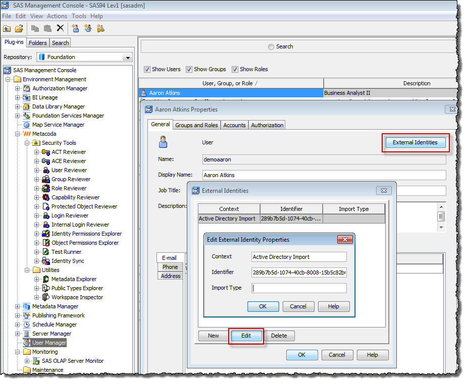 External Identity metadata seen in the SAS Management Console User Management Plug-in