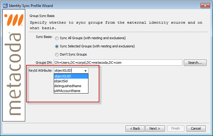 Metacoda Identity Sync Plug-in: Group Key Id Attribute
