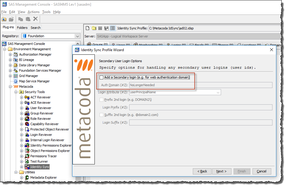 Metacoda Identity Sync Plug-in Wizard with unchecked Second Login