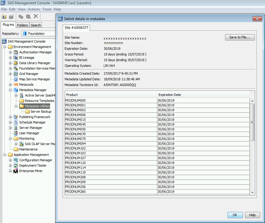 SAS Management Console Metadata Manager Setinit Details Dialog