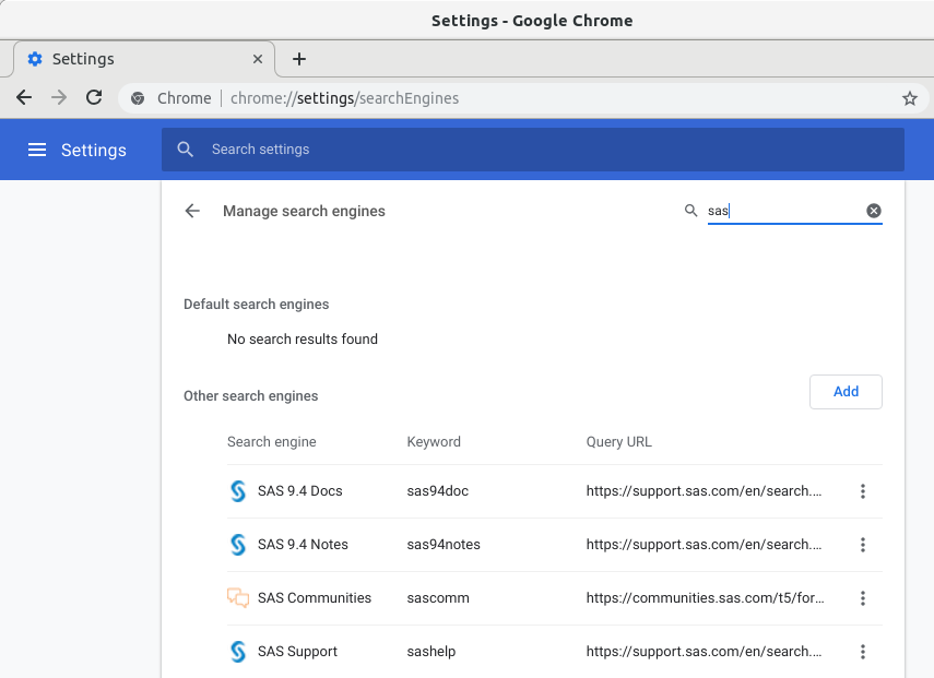 Chrome Search Engines with SAS Support