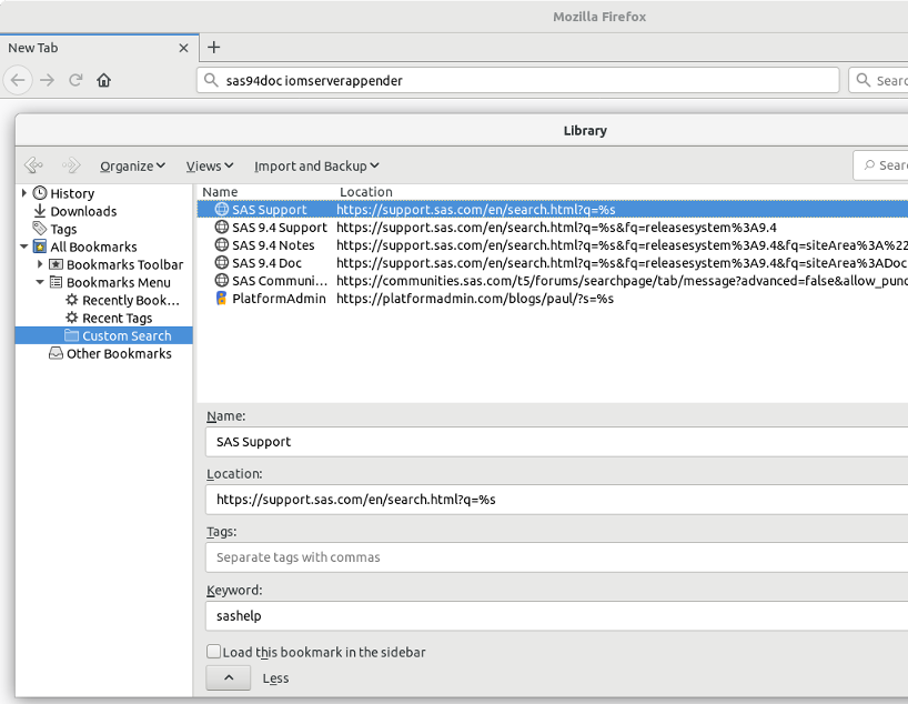 Firefox Keyword Search Bookmarks with SAS Support Search