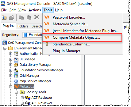 Metacoda Security Plug-ins Compare Metadata Objects in SAS Management Console Tools menu