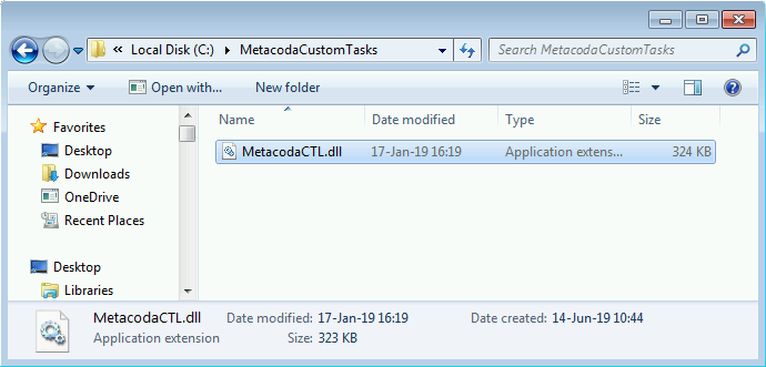 Metacoda Custom Tasks DLL in the Add-In Deployment Directory