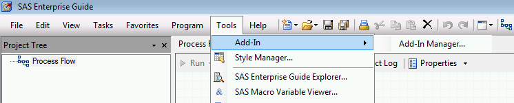 SAS Enterprise Guide Add-In Manager menu item