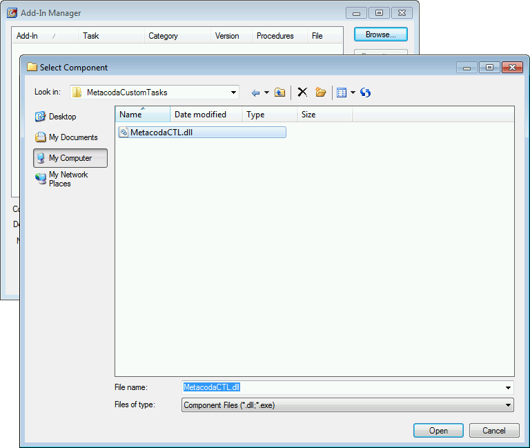 SAS Enterprise Guide Add-In Manager Browse Dialog