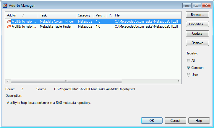 SAS Enterprise Guide Add-In Manager with Metacoda Custom Tasks