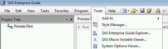 SAS Enterprise Guide Explorer menu item
