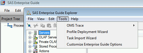 SAS Enterprise Guide Explorer Task Import Wizard menu item