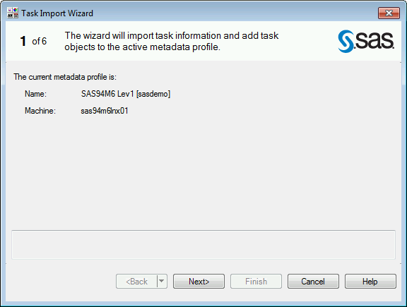 SAS Enterprise Guide Explorer Task Import Wizard Page 1