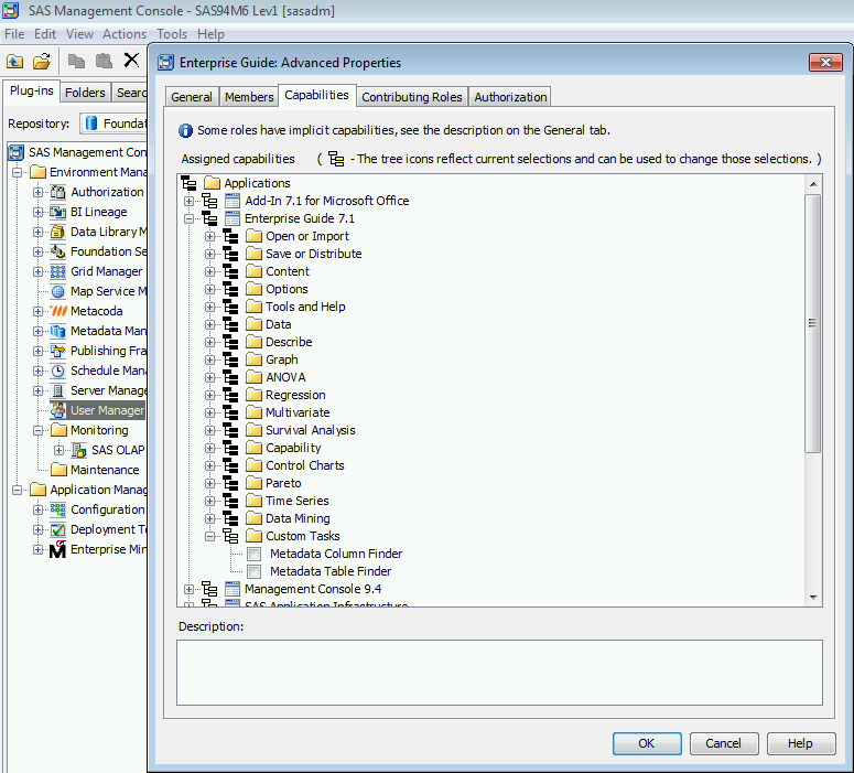 Metacoda Custom Task capabilities in SAS Management Console role